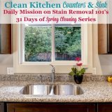 Clean kitchen counters and sink