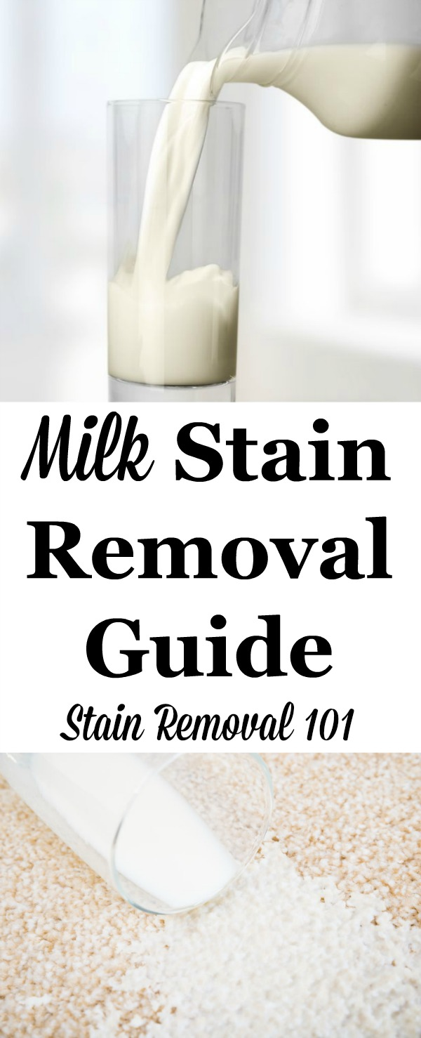 Don't cry over spilled milk. Step by step instructions for how to remove milk stains from clothing, upholstery and carpet {on Stain Removal 101}