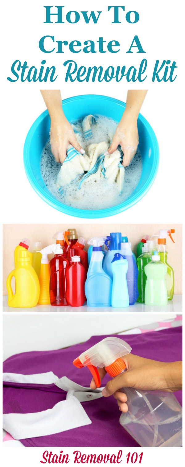 How to create a stain removal kit, including a list of what you should put in it, to keep in your laundry room or wherever in your home you do laundry {on Stain Removal 101} #StainRemoval #StainRemovers #LaundryRoomOrganization