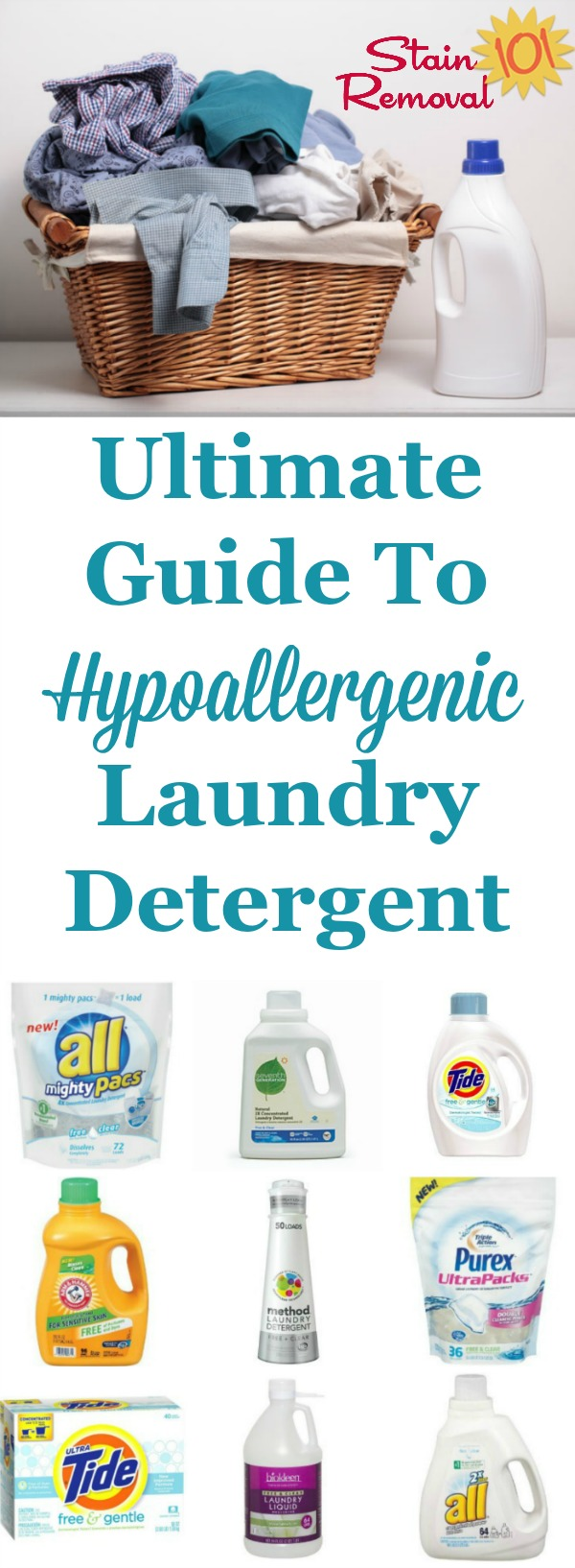 The ultimate guide to hypoallergenic laundry detergent, with a list of scent and dye free laundry soaps available, plus reviews related to both allergic reactions plus how well they clean clothes {on Stain Removal 101} #HypoallergenicLaundryDetergent #HypoallergenicDetergent #LaundryDetergent