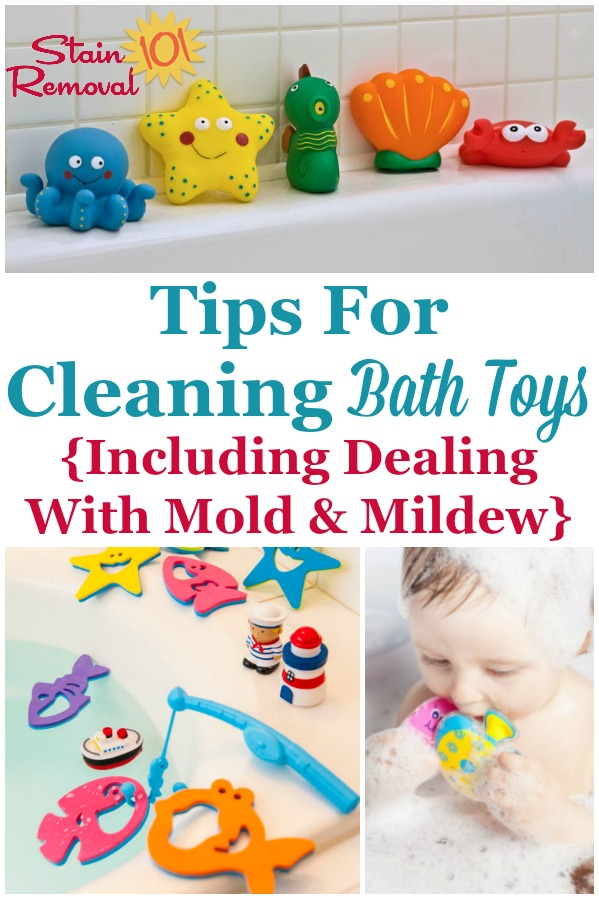 Here are tips for cleaning bath toys, including how to deal with mold and mildew on the toys, how to keep the mold from forming in the future, and which types of bath toys are easiest to clean {on Stain Removal 101} #CleaningBathToys #CleanBathToys #CleaningTips
