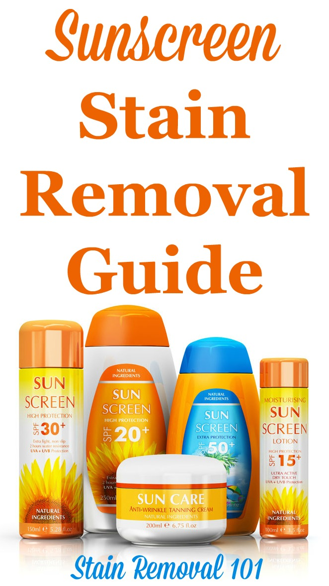 How to remove sunscreen stains from clothing, upholstery and carpet, with step by step instructions. Includes special instructions for removing the orangish spots some sunscreens cause {on Stain Removal 101} #SunscreenStains #SunscreenStainRemoval #StainRemoval