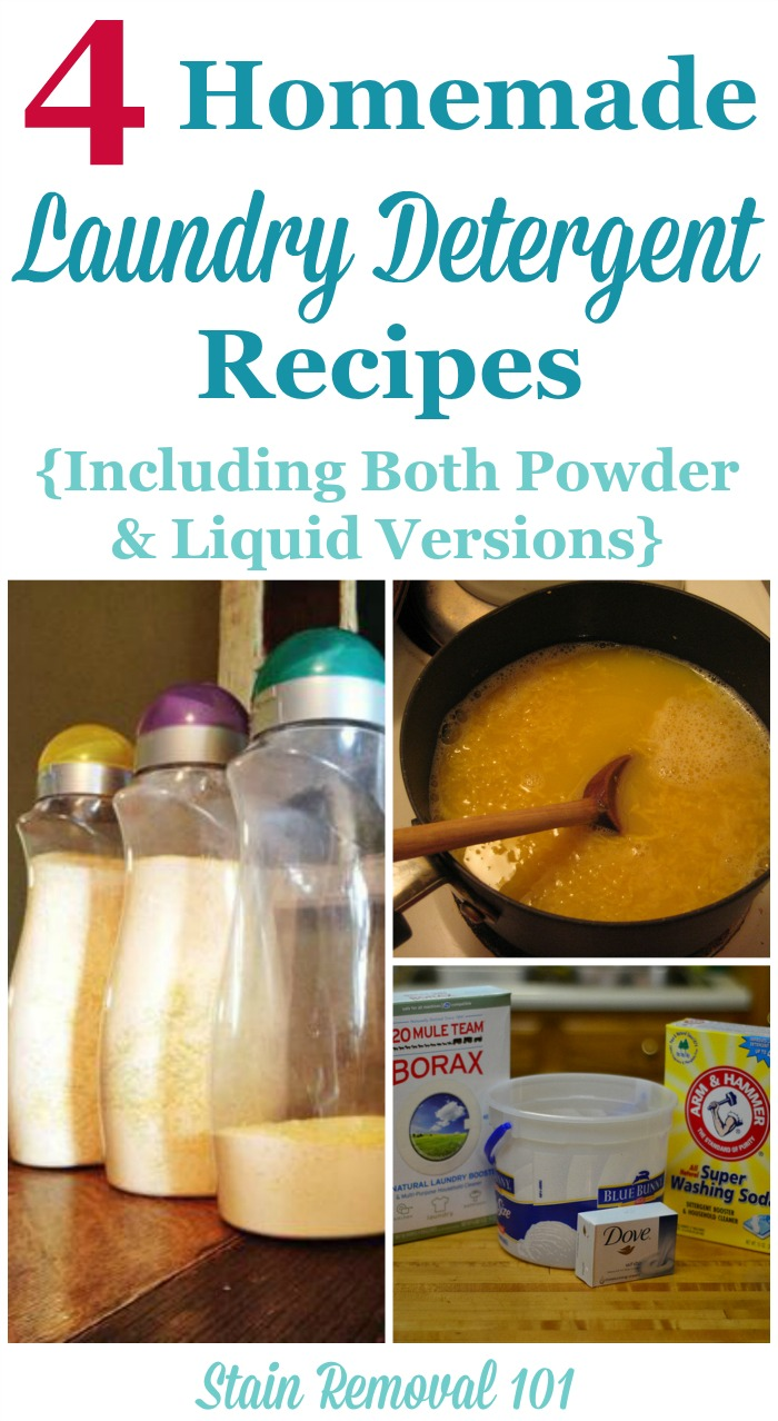 4 homemade laundry detergent recipes, including for powder, liquid, and even gel ball ...