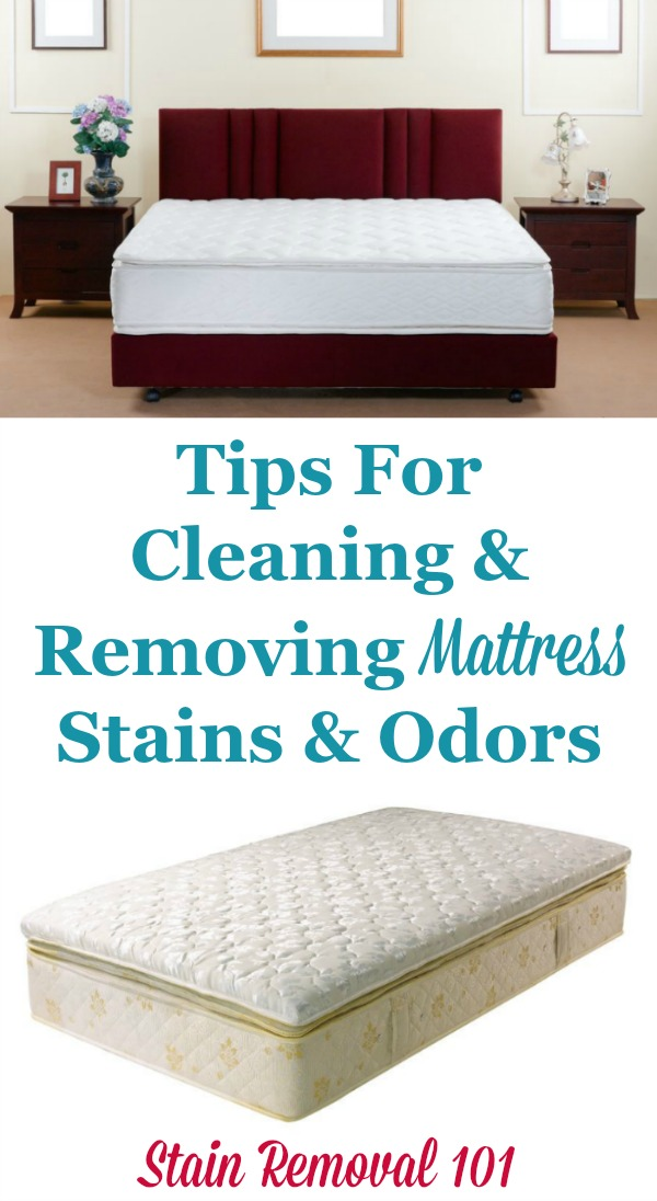 Tips for cleaning and removing mattress stains and odors {on Stain Removal 101} #MattressStainRemoval #MattressCleaning #CleaningTips