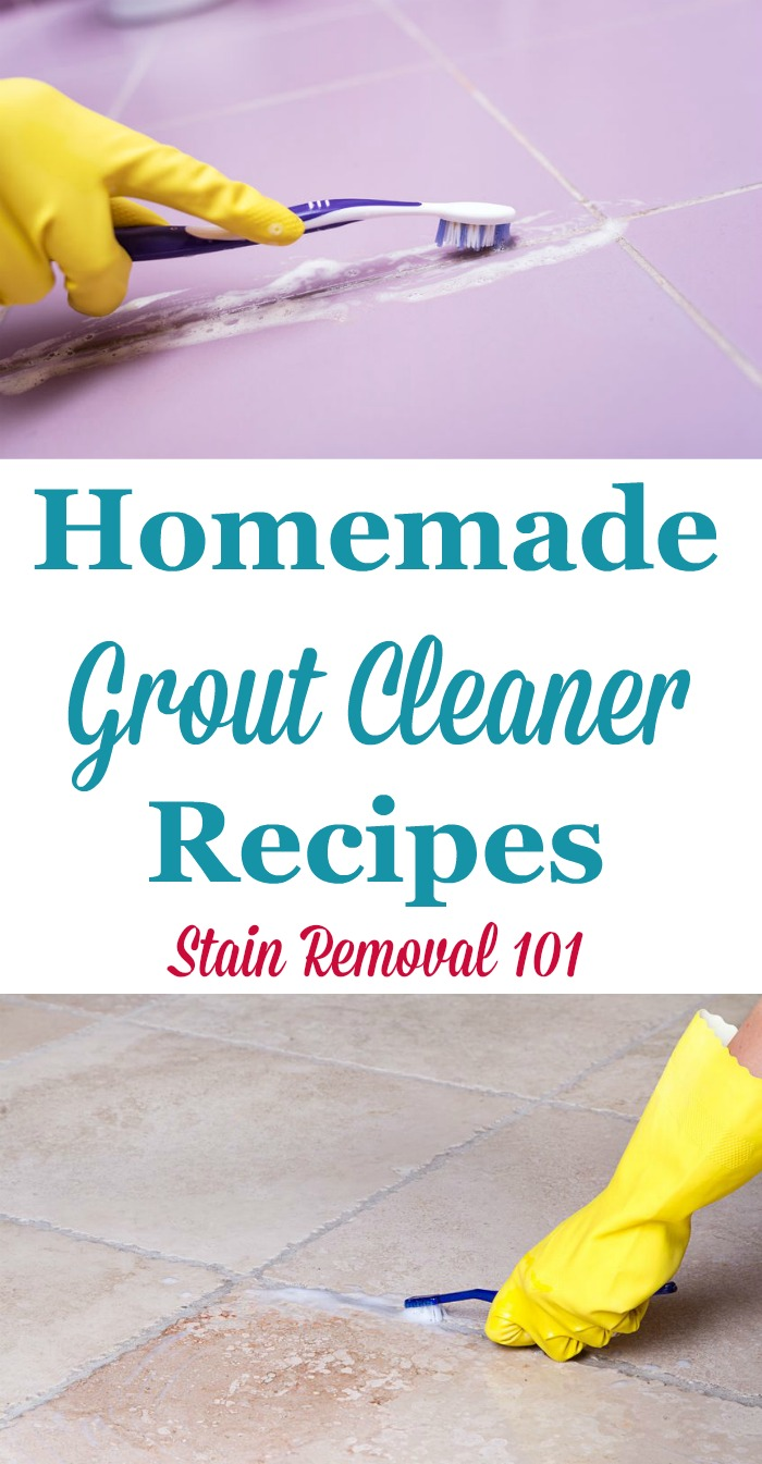 Two homemade grout cleaner recipes, one gentler and one for removing stubborn stains {on Stain Removal 101}