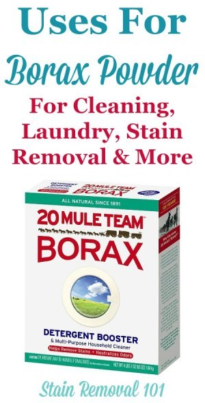 Article, plus round up of uses for Borax powder around your home, for cleaning, laundry, stain removal, odor control, as an ingredient in homemade cleaner recipes, and even for pest control {on Stain Removal 101}