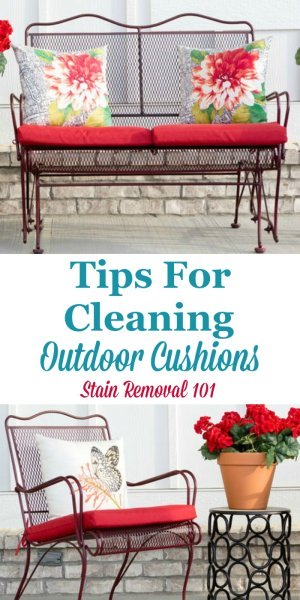 Here are tips for cleaning outdoor cushions that you place on patio or garden furniture, including how to avoid mildew stains and odors {on Stain Removal 101} #CleaningTips #MildewOdor #CleaningOutdoorCushions