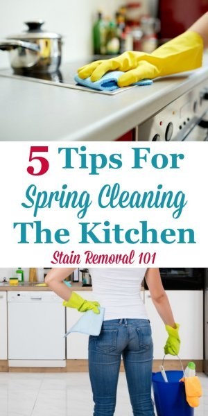 Here are 5 tips for spring cleaning the kitchen, as well as organizing it, to make it easier to clean and get meals on the table {on Stain Removal 101} #SpringCleaning #KitchenCleaning #CleaningTips