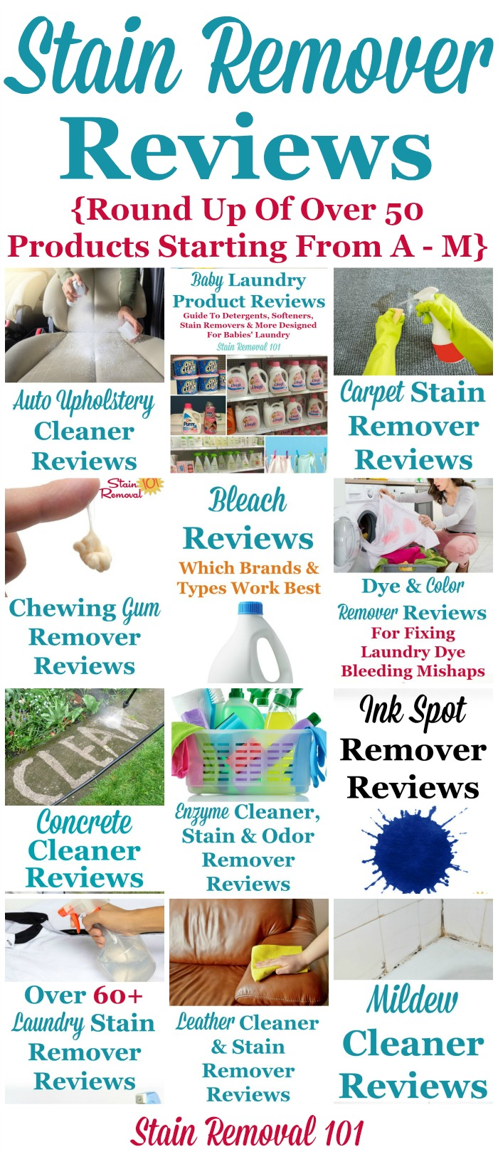 Here is a round up of over 50 stain remover reviews, for products from A through M in the alphabet, to find out which products work best, and which don't {on Stain Removal 101} #StainRemover #SpotRemover #StainRemovers