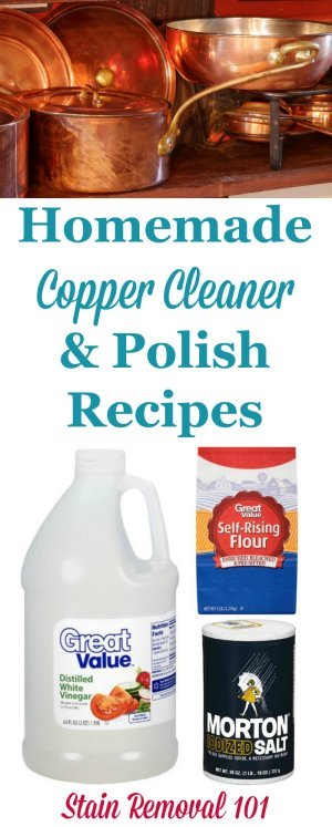 Several homemade copper cleaner and polish recipes using natural, frugal ingredients {on Stain Removal 101}