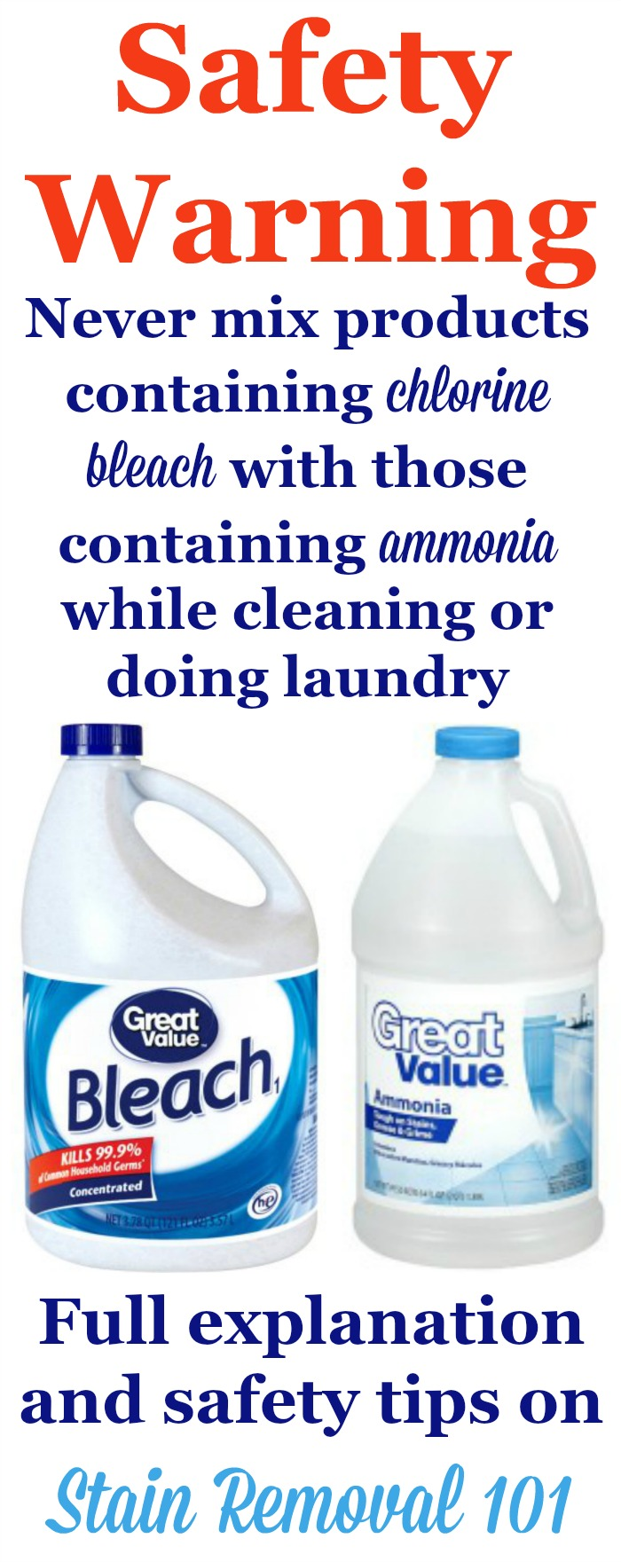 Important safety rule: Don't mix bleach and ammonia -- it can produce toxic poisonous fumes. Full explanation, including ways you might accidentally do this without realizing it, in the article from Stain Removal 101.