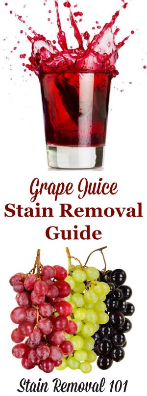 How to remove grape juice stains from laundry, upholstery and carpet with step by step instructions {on Stain Removal 101}
