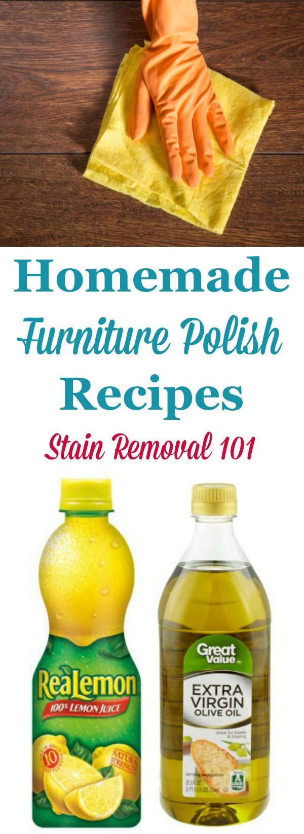 Three natural homemade furniture polish recipes that make wood furniture look great for less {on Stain Removal 101} #HomemadeFurniturePolish #NaturalFurniturePolish #HomemadeCleaningProducts