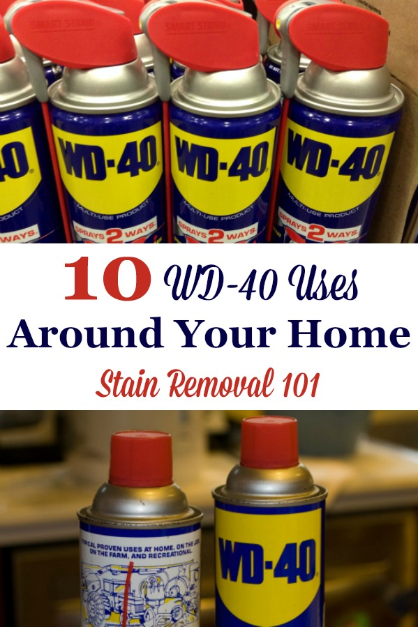 Here are 10+ WD-40 uses throughout your home, as a household remedy for cleaning, stain removal and more {on Stain Removal 101} #WD40 #WD40Uses #HouseholdHints