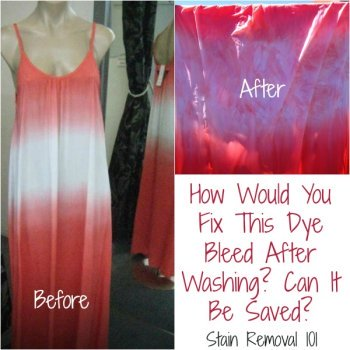 Dye bleeds and transfers can ruin the look of clothing, but sometimes these items can be saved. Here are tips for fixing bleeding dye stains on clothes {on Stain Removal 101}