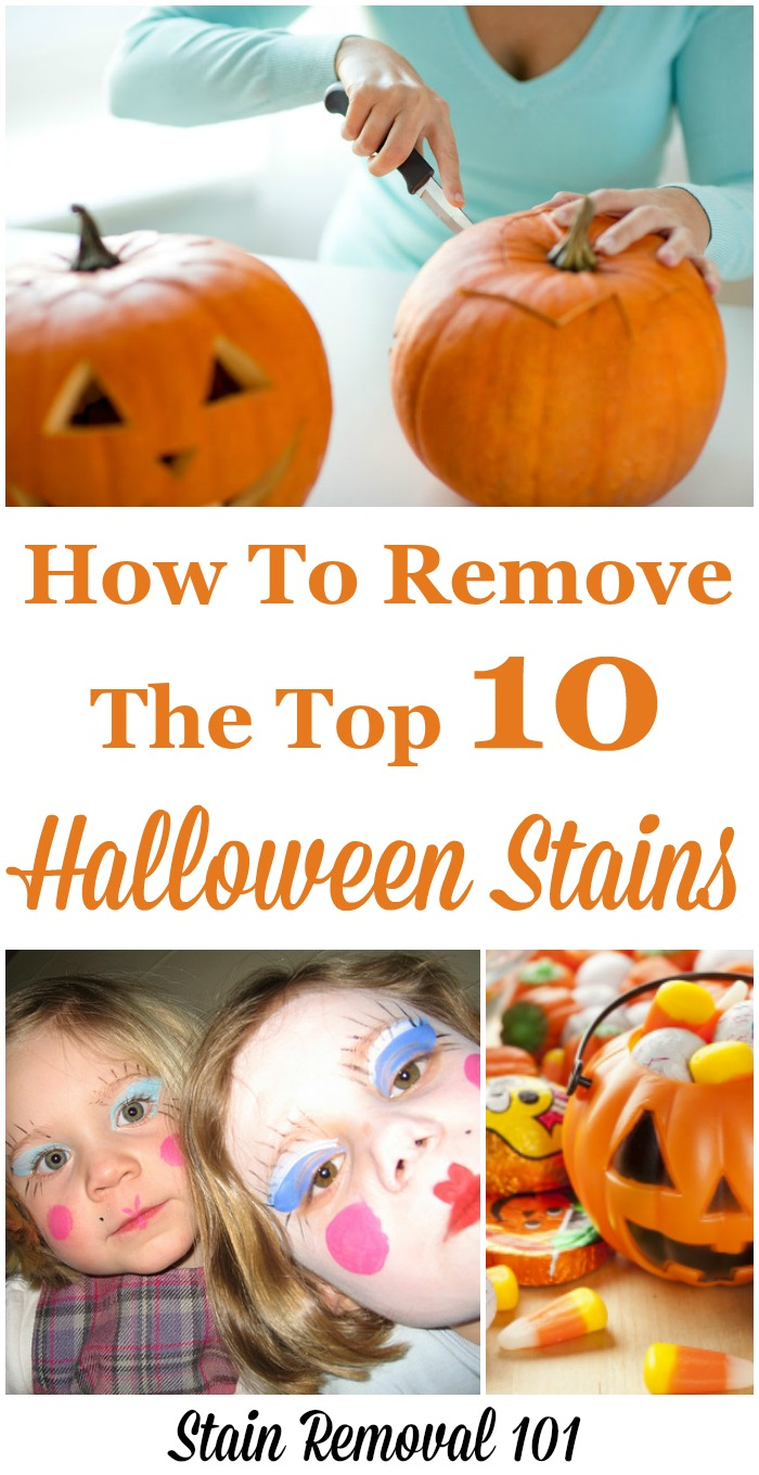 How to remove the top 10 types of Halloween stains, so after trick or treating you're prepared to clean up the mess. {on Stain Removal 101}