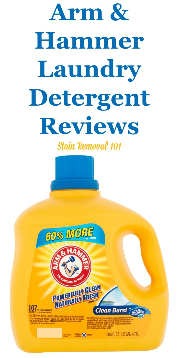 Here is a comprehensive guide all about Arm and Hammer detergent, including reviews and ratings of this laundry supply in a variety of scents, formulas, and varieties, including liquid, powder and pacs. {on Stain Removal 101}