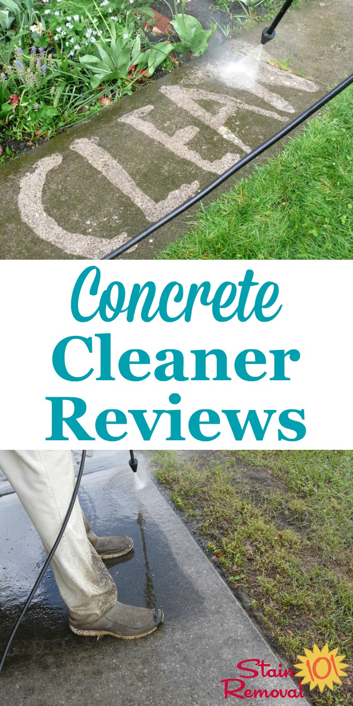 Here is a round up of reviews of concrete cleaners and concrete stain removers to find the products which work best or that shouldn't be used for problems such as rust, oil, or other grime on your concrete {on Stain Removal 101} #ConcreteCleaner #CleaningConcrete #ConcreteStainRemover