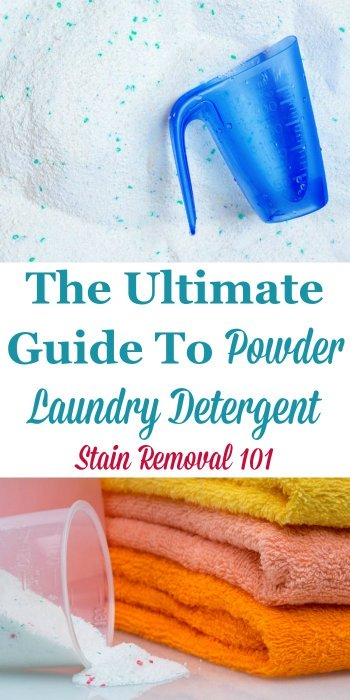 The ultimate guide to powder laundry detergent, including times when it removes stains better than liquid, instances where it makes sense not to use it, and how to add it to the machine properly {on Stain Removal 101} #PowderLaundryDetergent #PowderedLaundryDetergent #LaundryDetergent