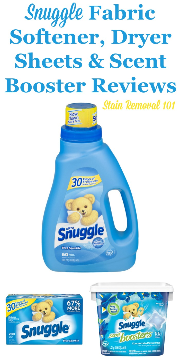 Here is a comprehensive guide about Snuggle fabric softener, dryer sheets and scent boosters, including reviews and ratings of this brand of laundry supply for many different scents and varieties {on Stain Removal 101}
