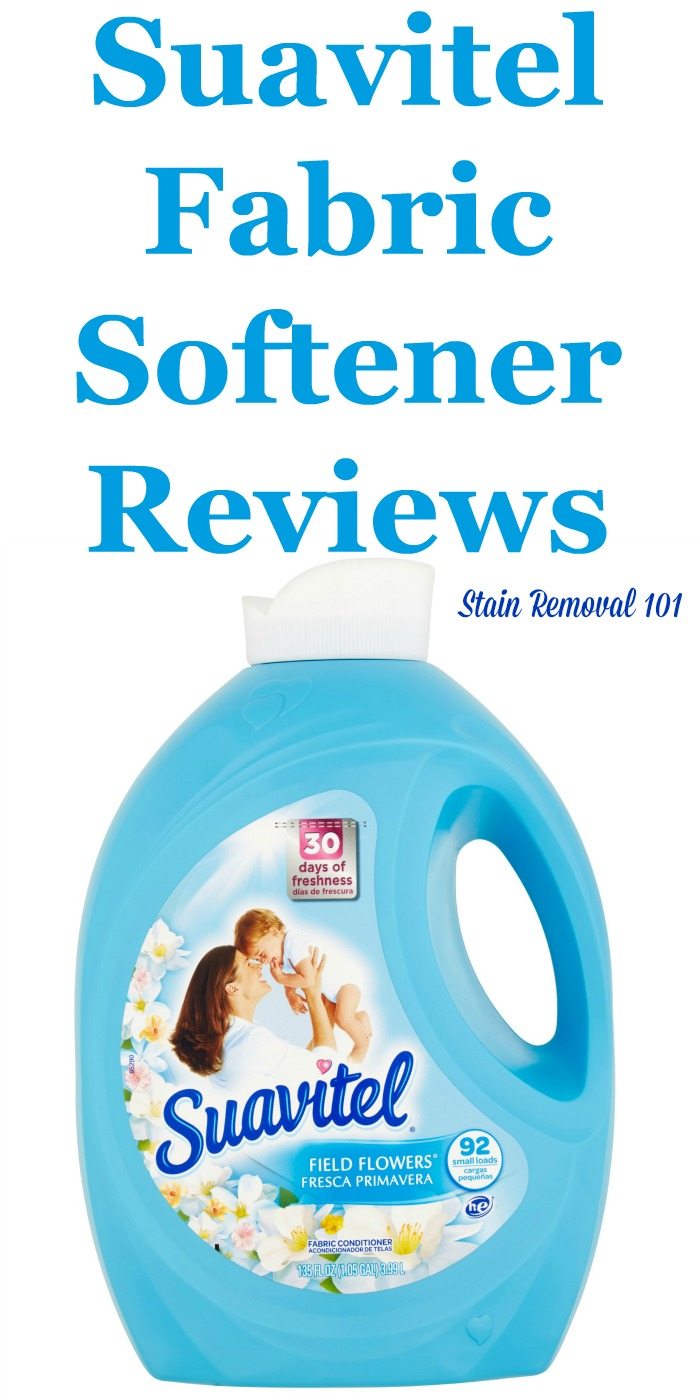 Here is a comprehensive guide about Suavitel fabric softener and  dryer sheets, including reviews and ratings of this brand of laundry supply for many different scents and varieties {on Stain Removal 101}