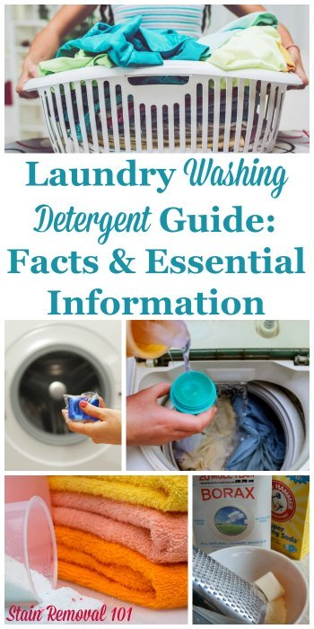 There are lots of types of laundry washing detergent available to wash your clothes and other laundry, but they're not all made the same, and some are better for one job versus another. Here's your guide to determine which one you should use in your machine for which loads {on Stain Removal 101} #WashingDetergent #LaundryDetergent #LaundrySoap
