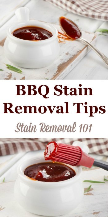 Here is a round up of BBQ stain removal tips and tricks, plus reviews of products that have worked for removing these spots and spills from various surfaces {on Stain Removal 101} #StainRemoval #FoodStains #RemoveStains
