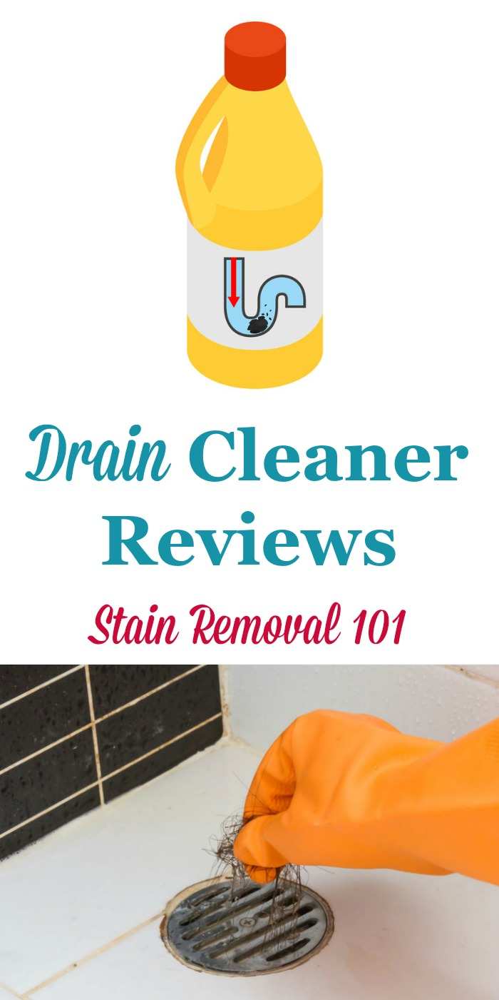 Here is a round up of drain cleaners reviews discussing how various products worked for clearing clogs in both the bathroom and kitchen, including greasy clogs and hair clogs, to find out which products work best and safely for your pipes {on Stain Removal 101}
