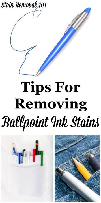 Here is a round up of stain removal ballpoint ink tips, with ideas from how to remove pen marks from all types of surfaces, including fabric, hard surfaces and even skin {on Stain Removal 101} #StainRemoval #InkStains #PenStains