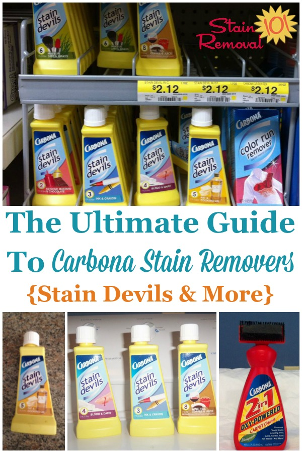 Here is the ultimate guide to Carbona stain remover products, including all nine formulas of the Stain Devils, plus more, to remove various categories of stains from fabric and clothing {on Stain Removal 101} #CarbonaStainRemover #CarbonaStainDevils #StainRemover