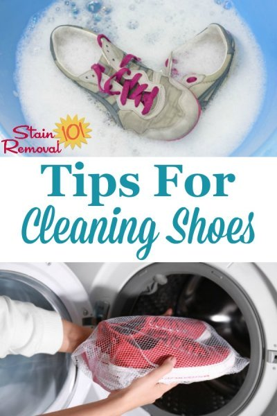 Here is a round up of tips and home remedies for cleaning shoes of all varieties, including running and tennis shoes, and those made of leather, suede, canvas and cloth {on Stain Removal 101} #CleaningShoes #CleanShoes #WashingShoes