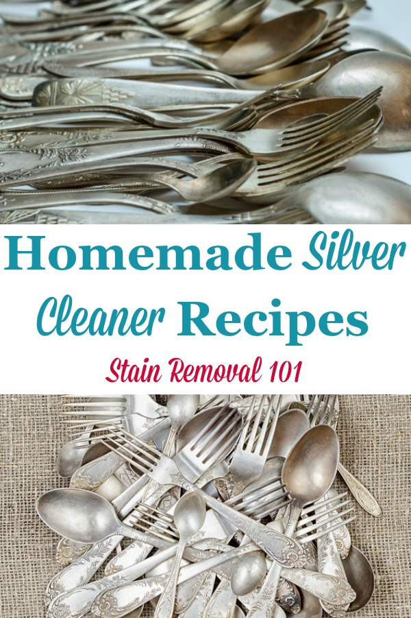 Here is a round up of silver cleaner homemade recipes that you can use today to clean your silver items, many with cleaning items you can find around your home {on Stain Removal 101} #HomemadeSilverCleaner #SilverCleaner #HomemadeCleaners