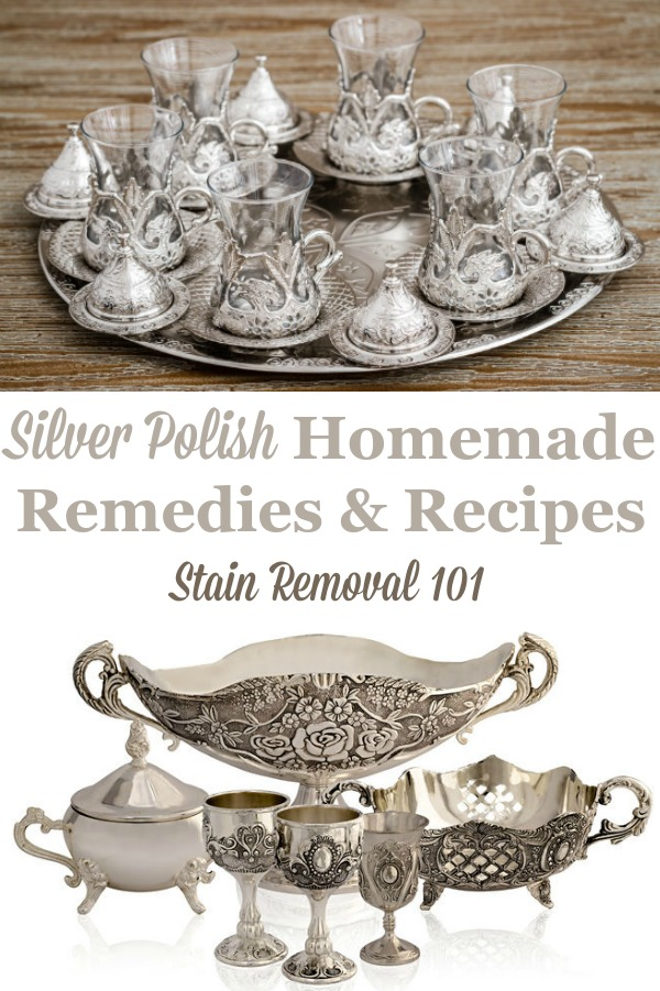 Here is a round up of silver polish homemade remedies and recipes so you can polish silver without purchasing a commercial polish {on Stain Removal 101} #HomemadeSilverPolish #SilverPolish #PolishSilver