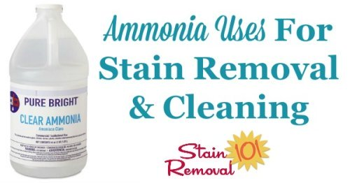 Here is a round up of ammonia uses throughout your home, for stain removal, cleaning and laundry {on Stain Removal 101}