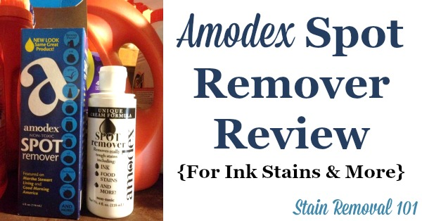 Amodex ink and stain remover review, with test results to show how it works on a wide variety of stains {on Stain Removal 101}