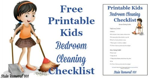 Free printable kids bedroom cleaning checklist so you can set easy to understand expectations for your child, and stop the cleaning wars. {on Stain Removal 101}