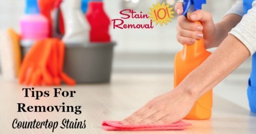 Here is a collection of tips and home remedies for removing countertop stains caused by a variety of substances to several types of counters {on Stain Removal 101}