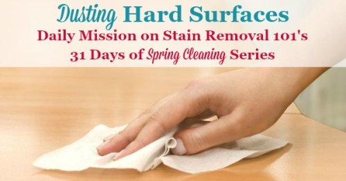 Here is a #SpringCleaning mission, as part of the 31 days of Spring Cleaning Challenge, to dust hard surfaces really well {on Stain Removal 101}
