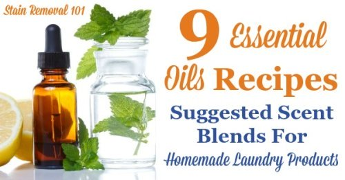 Essential oils recipes for homemade laundry supplies, including 9 suggested blends including flowery, romantic, herbal, citrus and minty varieties {on Stain Removal 101}