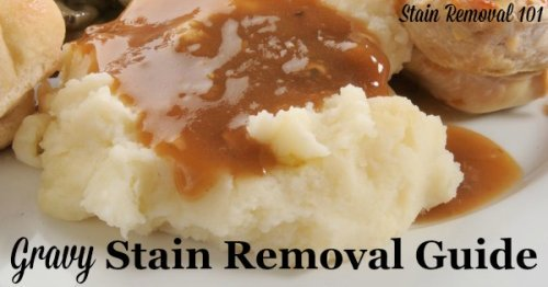 Step by step instructions for how to remove gravy stains from clothing, upholstery and carpet {on Stain Removal 101}