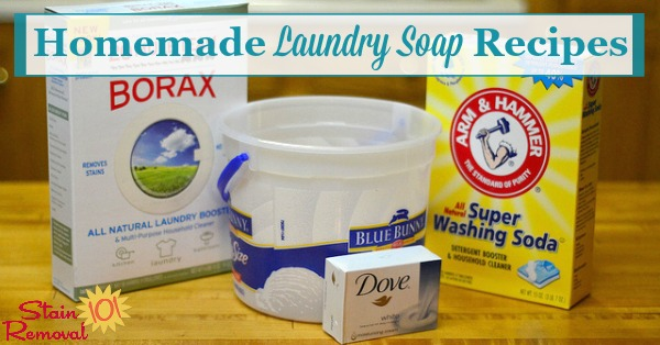 Here is a round up of recipes for homemade laundry soap, including both liquid and powdered varieties, using many different ingredients, plus tips for making and using it in your home {on Stain Removal 101} #HomemadeLaundrySoap #HomemadeLaundryDetergent #LaundryDetergentRecipes