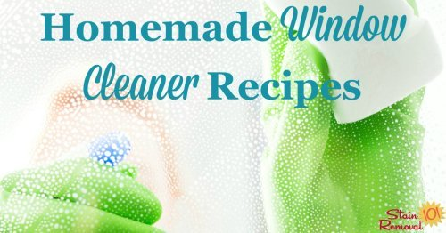 2 homemade window cleaner recipes, one with ammonia and the other with vinegar, to get your windows, glass and mirrors sparkling clean for less money {on Stain Removal 101}