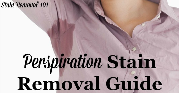 Step by step instructions for perspiration stain removal from clothing, upholstery and carpet {on Stain Removal 101}