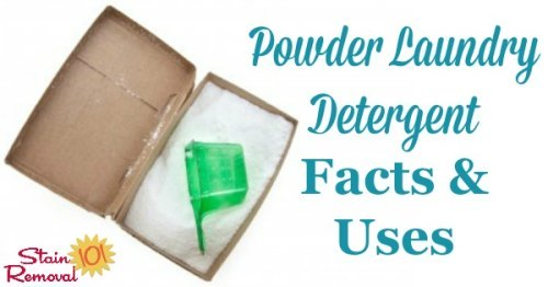 Guide to using powder laundry detergent, including the stains that it works better on than the liquid versions {on Stain Removal 101}