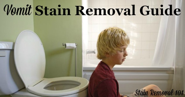 How to remove vomit stains from clothes, upholstery and carpet, with step by step instructions {on Stain Removal 101}