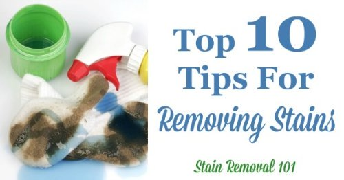 Top 10 tips for removing stains of any type from any surface {on Stain Removal 101}