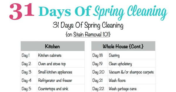 Free #printable 31 Days Of Spring Cleaning schedule, to deep clean your whole home in 31 days {courtesy of Stain Removal 101} #SpringCleaning #Cleaning