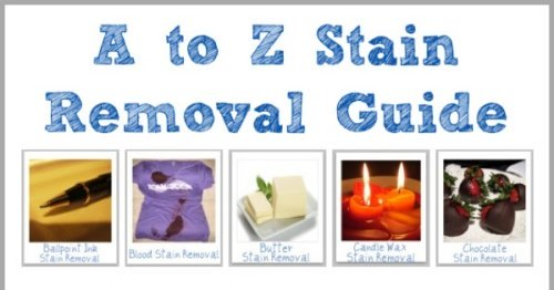 {A-Z} stain removal guide with over 100 pages of instructions that discuss removing the stains from laundry, upholstery AND carpet {on Stain Removal 101}