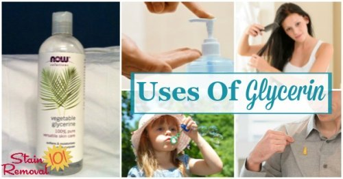 Here is a round up of tips for the uses of glycerin for cleaning, laundry and stain removal, plus some other fun uses as well {on Stain Removal 101}