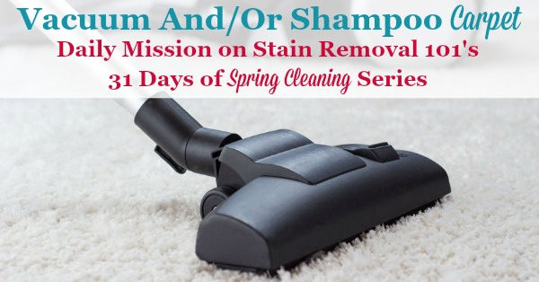 Vacuum and shampoo carpet, a daily mission on Stain Removal 101's 31 days of #springcleaning series